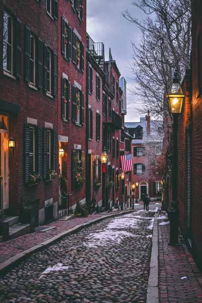 Boston Acorn Street abends