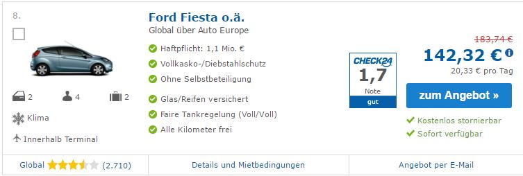 Mietwagen-Preisvergleich Europcar Berlin Autoeurope