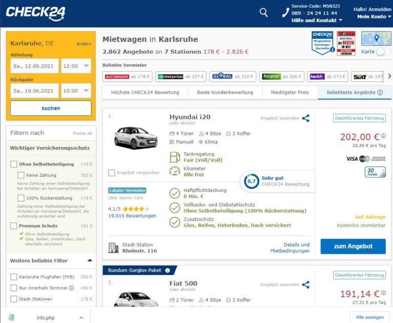 Mietwagen Karlsruhe Check24