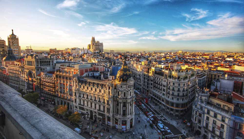 Mietwagen Madrid Skyline tagsueber