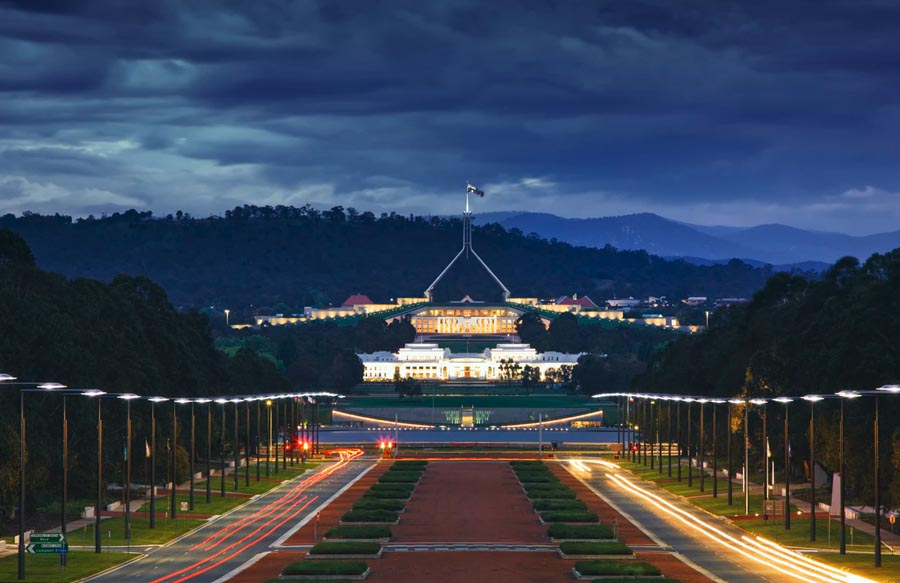 Canberra Parliament House nachts