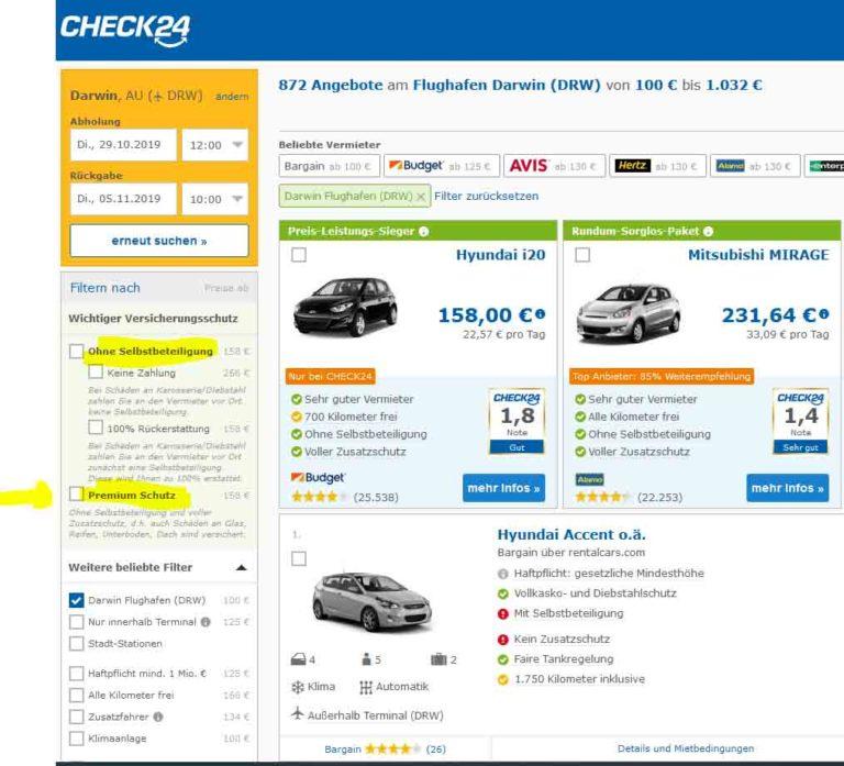 Darwin Mietwagen Check24 Preisvergleich