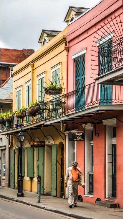 New Orleans bunte Haus Fassaden Motorrad mieten