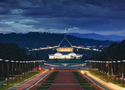 Canberra Parliament House nachts