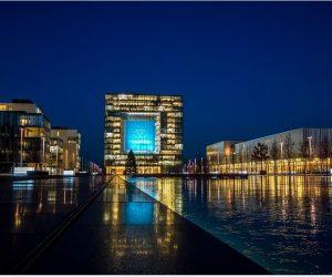 Stadt Essen Skyline bei Nacht